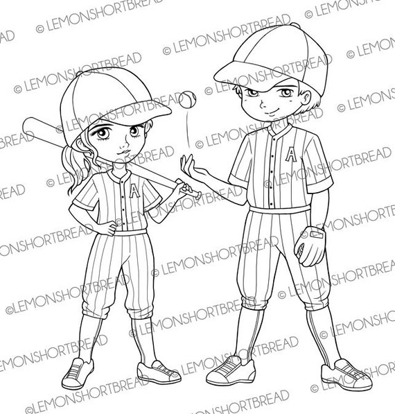 Baseball Teamies Digital Stamps, Sports Theme Digi Stamp PNG, Cute Children Boy Girl Card, Anime, Digistamp Pack Set, Instant download