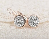 Rose Gold Druzy Earrings, Silver Sparkle Druzy Earrings, Rose Gold Earrings, Bridal Druzy, Bridesmaid Earrings, Faux Druzy Earrings, jlr0030