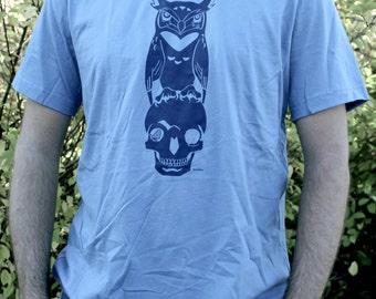Mens T Shirt - Owl and Skull Design - Wisdom - Steel Blue with Dark Blue Ink - Tee Shirt Sizes Men Unisex Small Medium Large XL XXL Sizes
