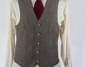 Men's Suit Vest / Vintage Gray Waistcoat / Size 40 Large - XL   #2055