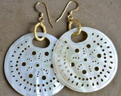 Lightweight Mother-of-Pearl & Gold Earrings by Catherine Nicole