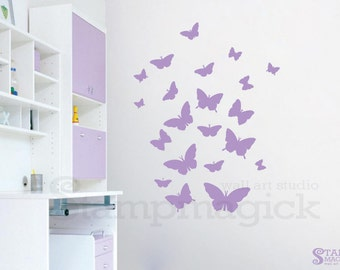 SALE: Lilac Butterflies Wall Decal - Butterflies Nursery Wall Decor Vinyl Wall Art for Baby Children's Room - K330