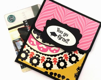 Graduation Cards, Graduation Money Card, Graduation Gift Card Holder, You Go Grad, Pink and Black, Graduation Congratulation Cards