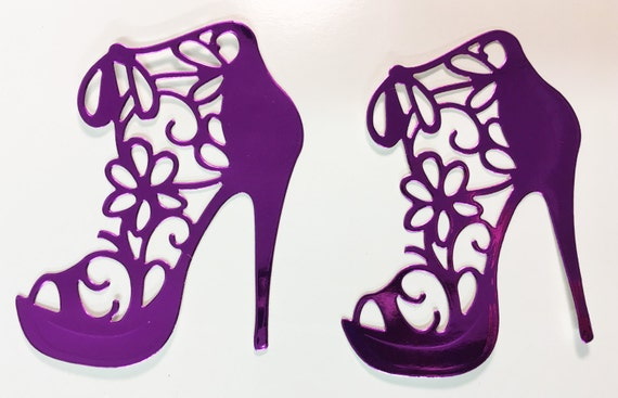 Flower Lace High Heel Purple Metallic Foil Die Cut 10 Pieces Elegant Feminine Embellishment Scrapbook Greeting Card Art Craft Mixed Media