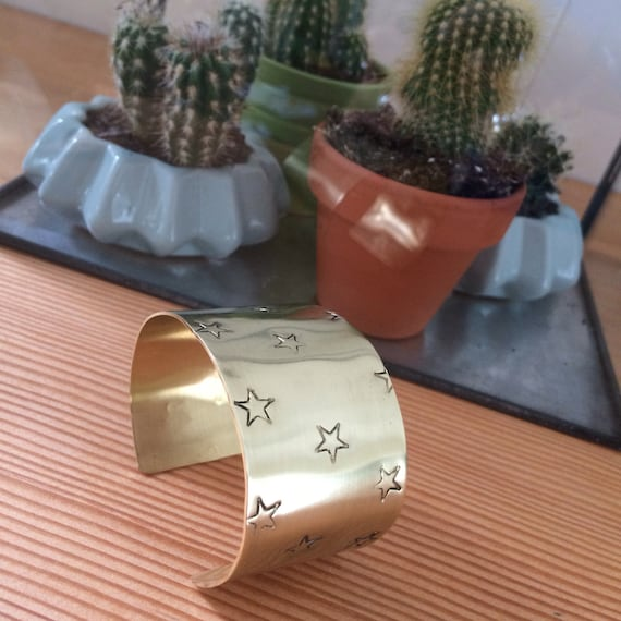 Wide Raw Brass Cuff Bangle with Stars - Gold - Festival - Gypsy -
