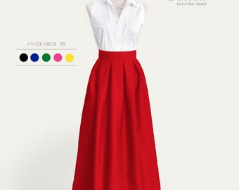 Cotton pleated long skirt with pockets - custom  maxi, floor length, ball gown skirt in black blue red navy brown red mint green yellow gray