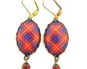 Scottish Tartan Jewelry - Ancient Romance Series - Hamilton Clan Tartan Earrings