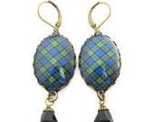 Scottish Tartan Jewelry - Ancient Romance Series - Black Watch Military Tartan Earrings with Indicolite Swarovski Crystal Beads