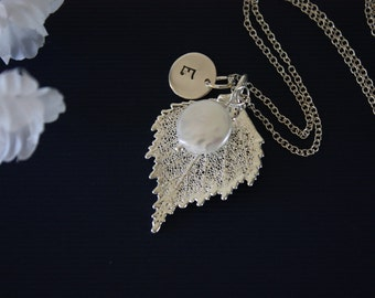 Birch Silver Leaf Necklace Personalized, Silver Leaf, Silver Initial Charm, Silver Necklace, Monogram, Bridesmaid Gift, Birch, Pearl