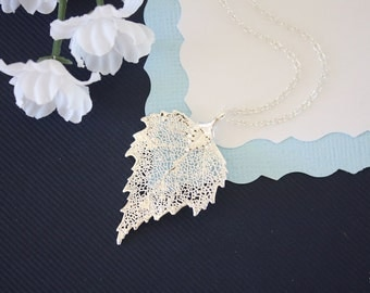 Real Silver Birch Leaf Necklace, Real Birch Silver Leaf, Real Birch Leaf Necklace, Birch, Sterling Silver, LC149