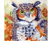 Great Horned Owl Art / Watercolor Archival PRINT / Bird painting / Wildlife art / Animal art / Archival print - 8 x 10