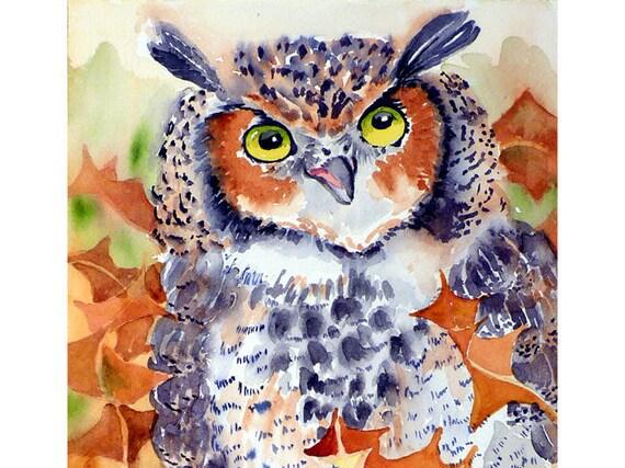 Great Horned Owl Art / Watercolor Archival PRINT / Bird painting / Wildlife art / Animal art / Archival print - 8 x 10