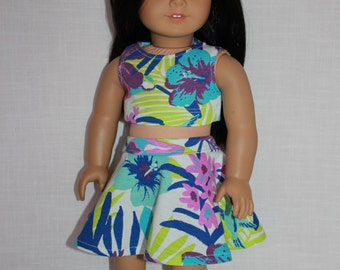 18 inch doll clothes, tropical floral print skater/circle skirt and matching crop top, Upbeat Petites