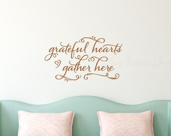 Autumn Decoration Grateful Hearts Gather Here Wall Decal - Fall Decoration - Thanksgiving Decor - Gather Wall Sticker - Autumn Decal