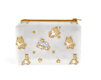 CHOOSE SIZE Shiba Inu Zipper Pouch / Shiba Camera Bag / Shiba Inu Play Time Pencil Pouch or Make Up Bag