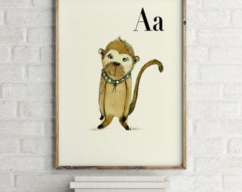 Ape print, nursery animal print, safari nursery, alphabet letters, abc letters, alphabet print, animals prints for nursery