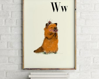 W fo woodchuck - Alphabet art - Alphabet print - ABC wall art - ABC print - Nursery art - Nursery decor - Kids room decor