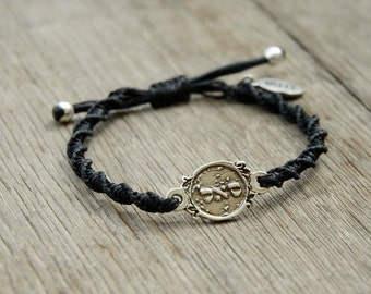 Adjustable Prosperity 72 Names of God Bracelet in Black