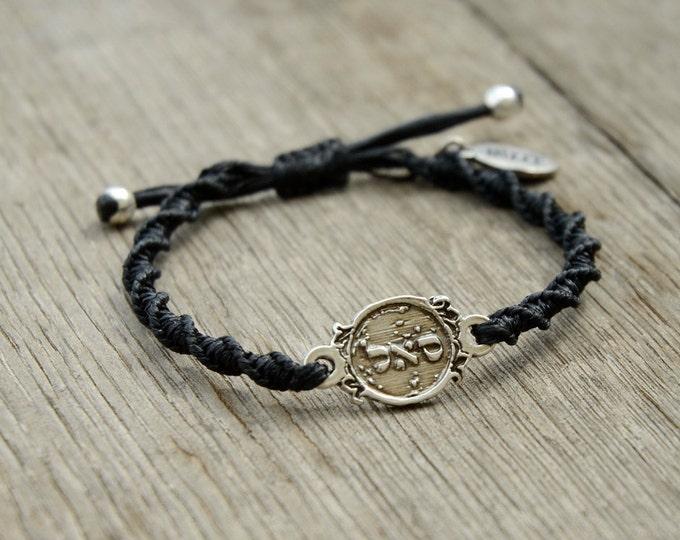 Adjustable Prosperity 72 Names of God Bracelet in Black