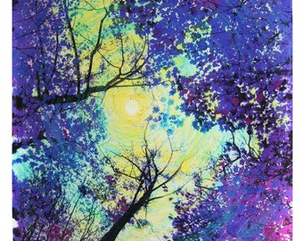 Full moon, 16x20 inches, #landscape art #moon art, #purple art #tree art, mixed media original #Natureart #Art #tree art  #Purple art