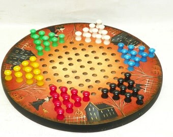 Halloween Game Board Chinese Checkers  Hand Painted Primitive Folk Art Witches Haunted House Jack O Lanterns Black Cats Halloween Decor OFG