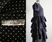 Swiss Dot Dress • 80s Dress • Polka Dot Dress • Ruffle Dress • Tiered Dress • 1980s Dress • Tiered Skirt Dress • Black and White Dress