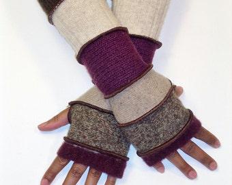 Fingerless Gloves, Patchwork Armwarmers (Burgundy/Chocolate Tweed/Tan/Wine/Beige/Brown)