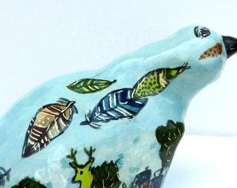 bird sculpture ceramic art bird aqua green red feathers deer trees large ceramic bird memories whimsical