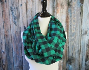 Clothing Gift - Buffalo Plaid Scarf -Green Scarf - Gifts for Her - Green Plaid Scarf - Green Infinity Scarf - Christmas Gifts