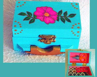 Small Travel Sewing Box, Teal Color, Sewing Accessories, Sewing Kit, Unique Gift, Wood Sewing Box, Hand Painted