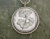Geranium - vintage dictionary illustration pendant necklace