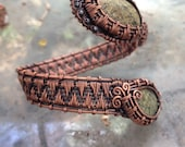 Dragon Relics   Woven wire wrapped Russian Serpentine front closure cuff bracelet, wrap bracelet