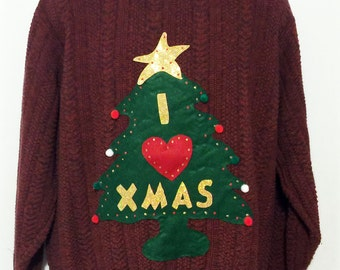 Ugly Christmas Sweater, Red Sweater, Sweater, Christmas Sweater, Ugly Sweater Party, Large, Item #5