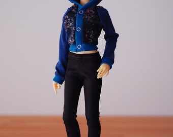 Dark purple denim jeggings jeans - Slim Mini MSD MNF BJD clothes