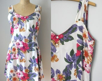 vintage. 1990s. tropical printed. jumper. floral. chinced. flutter dress mini skirt. summer. white buttons. tank top. large. lg.