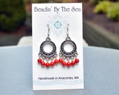 Coral Bead Chandelier Earrings, Red Coral, Sterling Silver, Silver Plated Bohemian Boho Handmade