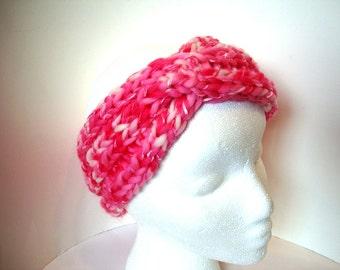 Handknit Headband Turban Ear Warmer Knitted Twist Headwrap Pink Ready to Ship Hot Pink Women Hand Knit Head Wrap
