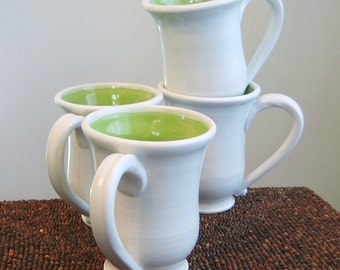 Pottery Coffee Mugs, Handmade Mugs, Set of 4 Ceramic Stoneware Pottery Cups in Lime Green, Wedding Gift