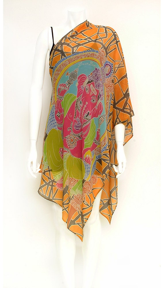 Ganesha Scarf, Pink, Art to wear, Womens Silk Scarf, Lord ganesha, Ganesha painting, Orange scarf, Unique gift ideas, Girlfriend Gift