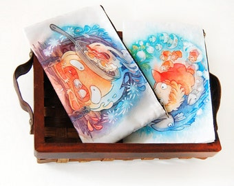 Howl's Moving Castle Calcifer Ponyo Studio Ghibli Zipper Bag