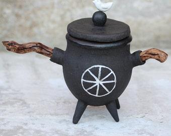 Black pottery Honey/jam pot - Sun jar