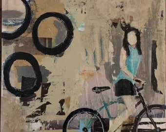 """My My Bicycle...Goes So Fast..Makes Me Say """"Oh My God!"""" Small Painting, bicycle art, original art only, art for athlete, abstract bike, 8x8"""