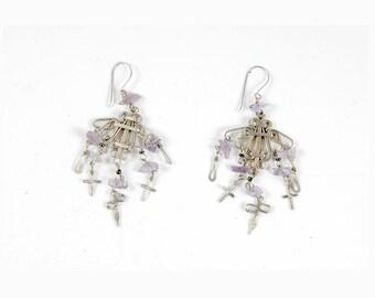 Vintage 80s Earrings - Dangle Earrings - 80s Dangle Earrings - Silver Dangle Earrings - Boho Earrings - Amethyst - Crosses Daggers - Ethnic