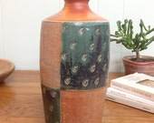 Pottery Vase with Green Glaze Panels and Leaf Stamped Decoration.  Bottle. Soda Fired Stoneware Pottery