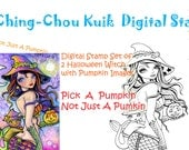 Digital Stamp Set of 2 Halloween Pumpkin Witch Images - Instant Download / Kitten Kitty Cat Fantasy Mermaid Fairy Art by Ching-Chou Kuik