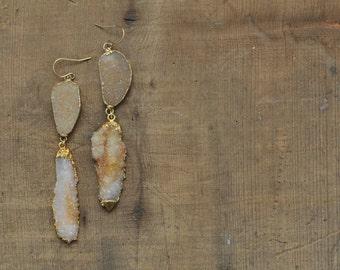 raw gemstone long statement earrings gold yellow orange spirit quartz