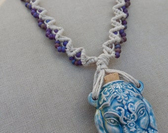 Ceramic Ganesha Bottle with Glass and Hemp Necklace - Natural Bohemian