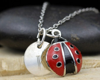 Personalized Red Lady Bug Necklace