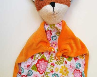 Baby Fox Blanket , All Natural Materials, Flowers
