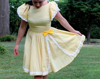 1960s Yellow Gingham Dress